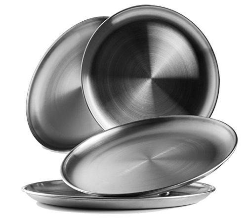 Reusable Brushed Metal 18/8 Dinner Plates- Vintage Quality 304 Stainless Steel Silver Color Heavy Duty Kitchenware Round Metal 9 Inch Plates | Dishwasher Safe | BPA Free| Use for BBQ Steak (4 Pack)