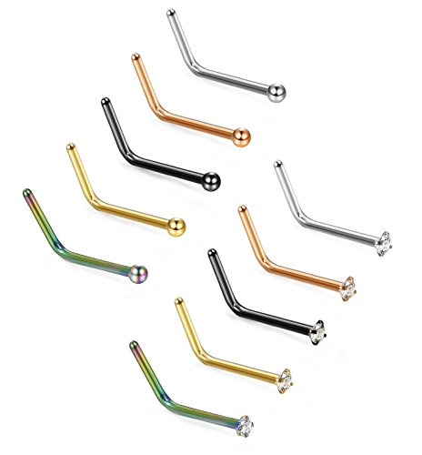 Jstyle 10Pcs Stainless Steel L Nose Rings for Women Men Multiple Nose Piercing Studs Jewelry - Female Nose Shapes