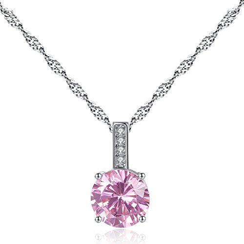 - HQLA Cubic Zirconia CZ Solitaire Pendant Necklace, 10mm Big Single Zirconia Pendant Necklace for Women, 18