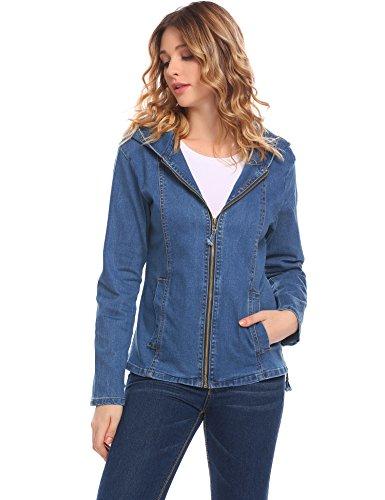 Zeagoo Women's Long Sleeve Hood Pocket Trucker Denim Jean Jacket