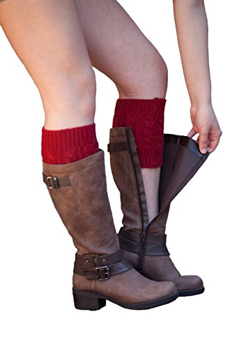 Knit Boot Cuffs Cable Knit Boot Toppers By Boutique Socks (Burgundy) (Cable Petite Knit)
