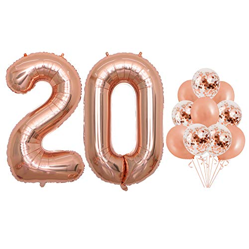 40 inch Jumbo Rose Gold Foil 20 Balloons Confetti Balloons for 20th Birthday Party Supplies Anniversary Events Decorations and Graduation Decorations (Confetti20)