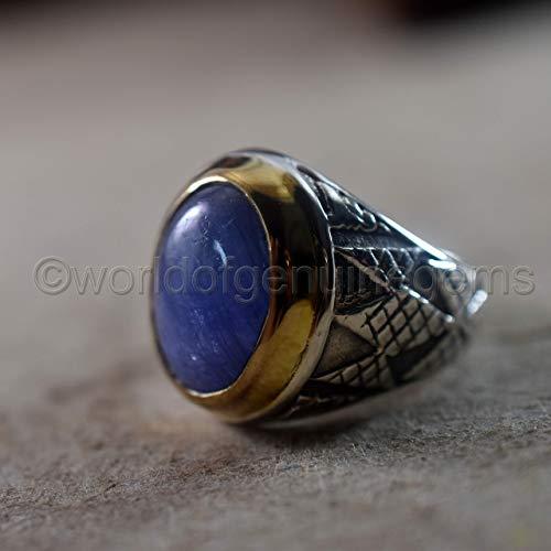 tanzanite ring, two tone, arabic designer ring, 925 sterling silver, designer handmade jewelry, tanzanite men's ring, gemstone ring, statement ring, birthday gift ring, anniversary gift ring - Two Tone Ring Tanzanite