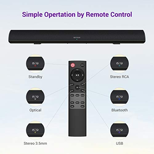 Sound Bar, Bestisan Soundbar for TV, Wired & Wireless Bluetooth 5.0 Speaker, Home Theater Surround Sound System (28 Inch, Infrad Remote Control, DSP, Bass Adjustable) 41seaIkKaiL