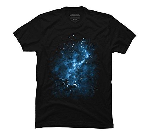 Cosmic Turtle Men's Large Black Graphic T Shirt - Design By (Black Ink Design T-shirt)