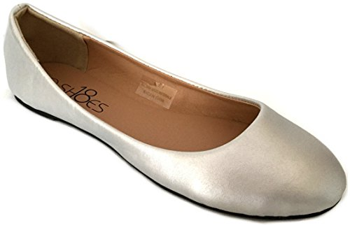 Shoes 18 Womens Ballerina Ballet Flat Shoes Solids & Leopards (11, Silver PU 8600) -