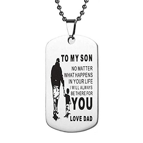 - Windoson Dog Tag Necklace and Key Ring Remember You are Braver Than You Believe Jewelry Dad Mom to Son Daughter (A)