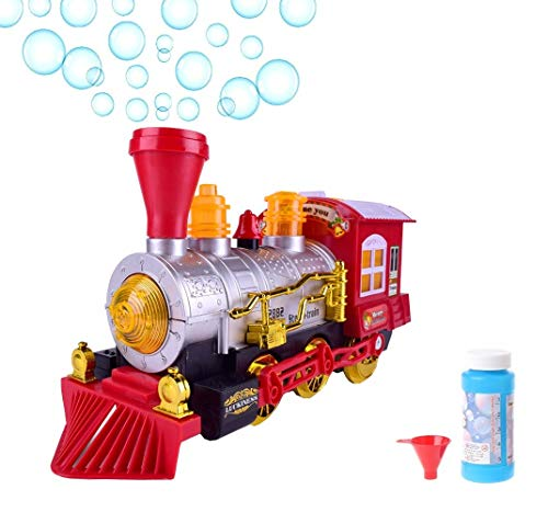 (O.B Toys&Gift Bubble Blowing Steam Locomotive Engine Car Bump'n'Go Action Train Toy Battery Operated w/ Colorful Lights & Fun Sounds , Kids Bubble Train)