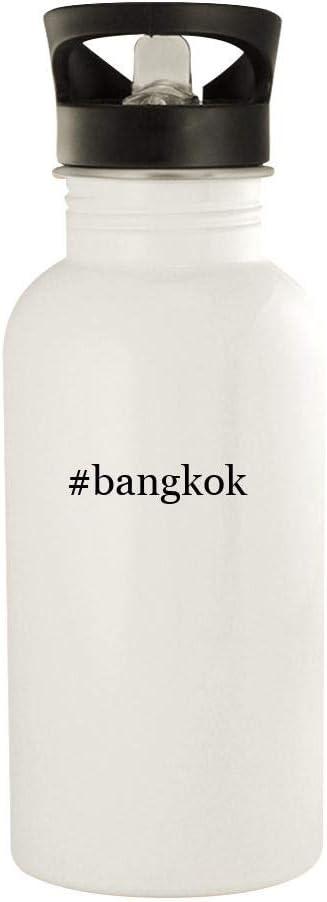 #Bangkok - 20Oz Hashtag Stainless Steel Water Bottle, White