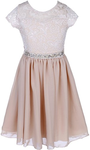 Easter Champagne (Big Girl Cap Sleeve Lace Top Chiffon Holiday Easter Flower Girl Dress (20JK53S) Champagne 8)