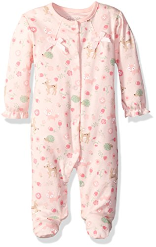 Rene Rofe Baby Girls' Coverall, Deer/Flowers Pink, 6-9 Months