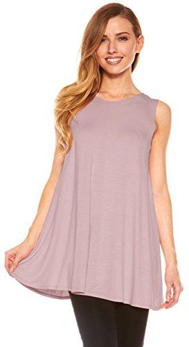 (Red Hanger Womens Sleeveless Tunics - Women Flowy Tunic Tank Tops for Leggings (Lavender-L))
