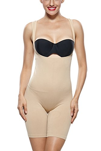 KHAYA Women's Seam Free Bodysuits Mid-Thigh Shapewear Wear-Your-Bra Body Shaper XX-Large Beige