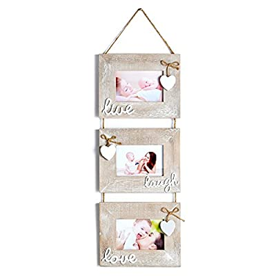 "Yaetm 3-Frame Set On Hanging Rope, Solid Wood Photo Frame with 6 x 4-Inch for Each Frame Hold,Rustic Grey - UNIQUE DESIGN: rustic collage picture frame, ""Live Laugh Love"" distressed wood frame, hanging 3 sets of 4x6 inch frames with rope on wall. The ""HEART"" hang on each frame, perfect to display you favorite photos to fit your lovely home. MATERIAL: frames made of sturdy rustic wood, photos are protected by real glass. EASY OPENING TABS: With backing rotary tablet presses, easy to insert photos and sturdy to withstand repeated pictures changing. - picture-frames, bedroom-decor, bedroom - 41sebyd%2ByJL. SS400  -"