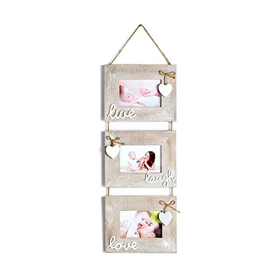 """Yaetm Live Laugh Love Collage Hanging Picture Frame 4x6"""", Solid Wood 3 Photo Frames Set, Wall Mount Verticval Display, Rustic Grey - 【Unique Design】: Made of rustic solid wood, shabby chic style, high definition real glass, Each frame attached a cute HEART and live laugh love, Hanging on wall with a rope. This haning frame is carefully designed for sweet family wall decor. 【DIMENSION】: Total display dimension is 30 x 9.5 inch with hanging rope. Each 4x6 rustic frame outline size is about 9.5x7.5 inch, holds 4 x 6 inch photographs/pictures/portraits/art prints. 【Easy to use & install】: With the hanging rope, the photo frame can be easily mounted on the wall. Each frame comes with easy opening tabs at the back to make the photograph changing more easy. - picture-frames, bedroom-decor, bedroom - 41sebyd%2ByJL. SS570  -"""