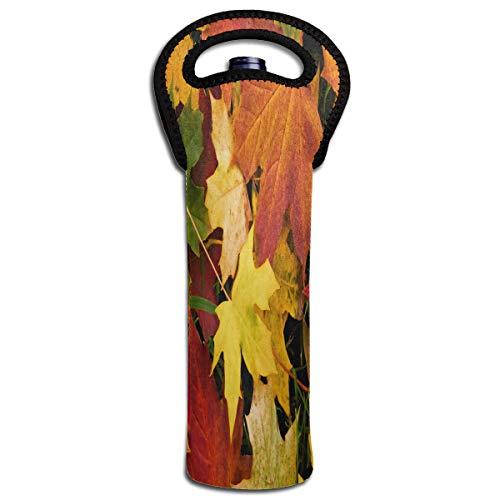 Wine Bag Autumn Leaves Best 1 Bottle Red Wine Tote Bag Cooler Single Champagne Holder -