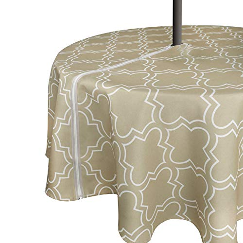 VCVCOO Wrinkle-Free Stain Resistant Outdoor Tablecloth Waterproof,Fabric Spill-Proof Table Cover Big Lantern Design for Restaurant with Zipper Umbrella Hole (Round 60 Inch, Zippered, Khaki) (Umbrella Cover Table)