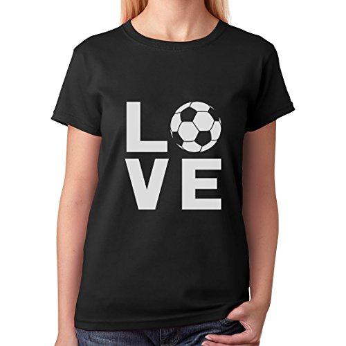 TeeStars - I Love Soccer Soccer Players/Fans Women T-Shirt Medium Black