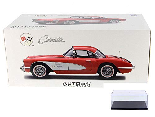 Diecast Car & Display Case Package - 1958 Chevy Corvette, Red - Auto Art 71148 - 1/18 Scale Diecast Model Toy Car w/Display - 1958 Corvette Chevy