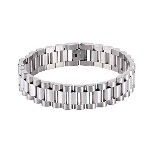 U7 Men Cool Bracelet with Chain Detaching Device Stainless Steel 15MM Wide Link Wristband Bracelets (Length 22CM)