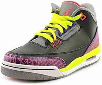 9dd3299a1ddad8 Girls Air Jordan 3 Retro Big Kids Sneakers Black Atomic Red-Cement Grey-