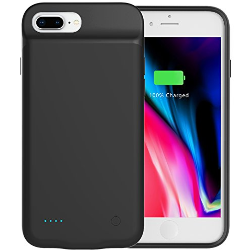 iPhone 8 Plus Battery Case,iPhone 7 Plus Battery Case,PEYOU® [Lightning Headphones Compatible] 4000mAh No Extra Chin Slim Protective Charging Case Extended Backup Charger Power Bank Cover For Apple iPhone 8 Plus 2017/iPhone 7 Plus 2016 5.5