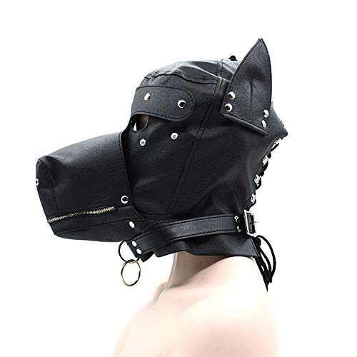 Fun Toys Adults Fetish PU Leather Hood Dog Mask Head Harness Sex SLE Collar Leash Mouth Gag Bondage Blindfold Sex Toys for Couple,Black,