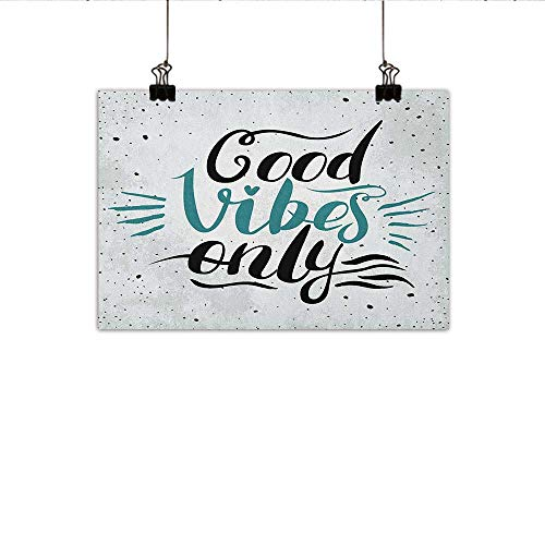 - homehot Good Vibes Simulation Oil Painting Stylized Hand Letters Calligraphy Dots Wavy Lines and Little Heart Modern Decorative Painted Sofa Background Wall 47