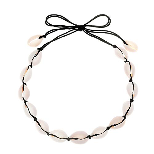 (Edary Handmade Shells Choker Boho Clavicle Necklace for Women and Girls (Black))