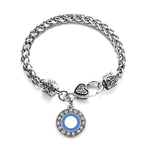 Inspired Silver Diabetes Blue Symbol Circle Charm Braided Bracelet Silver Plated with Crystal Rhinestones