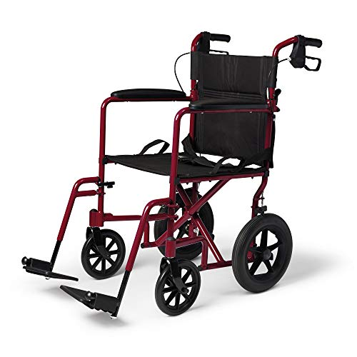 Medline Lightweight Transport Wheelchair with Handbrakes, Folding Transport Chair for Adults has 12 inch Wheels, Red