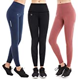 FITTIN PRO Yoga Workout High Waist Leggings with Out Pocket - Flex 4 Way Stretch Power Pants for Fitness Running Sports Pack of 3 X-Large (Black/Navy Blue/Rosewood)