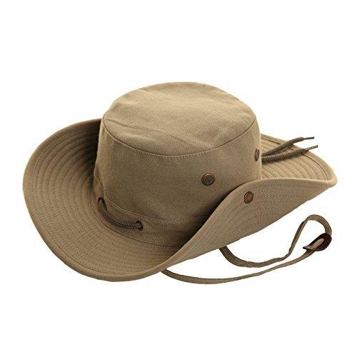FELTON - Sombrero de safari tipo Fedora, 100% algodón, ala ancha