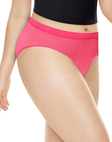 Playtex Womens Ultra Light Hipsters, 4-Pack, 11, Raspberry/Black