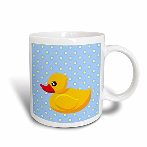 3dRose Rubber Ducky Light Blue Polka Dots Art for Children Ceramic Mug, 11-Ounce