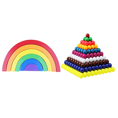 Fityle Montessori Wooden Rainbow Arch Blocks +Mathematics Material Beads Sheet 1-10 Numbers' Square Root Set Kids Educational Toy