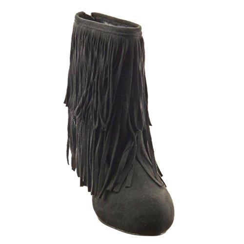 Sopily - damen Mode Schuhe Stiefeletten Franse - Schwarz