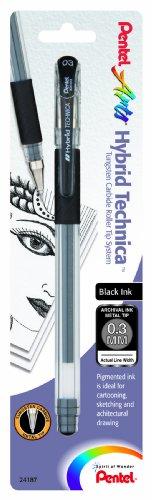 Pentel Arts Hybrid Technica 0.3 mm Pen, Ultra Fine Point, Black Ink, 1 Pack (KN103BPA)