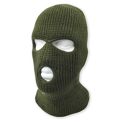 3 Hole Beanie Face Mask Ski - Warm Double Thermal Knitted - Men and Women (Olive)