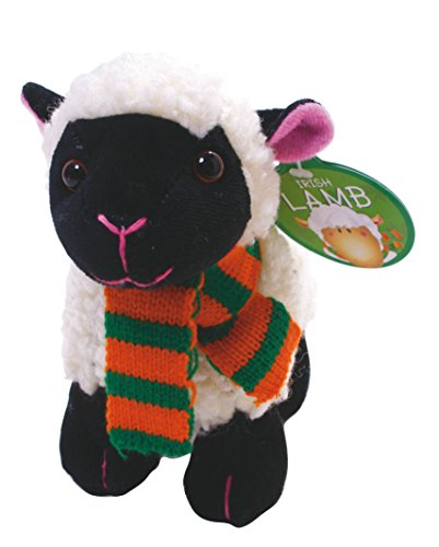 "5.5"" Irish Black & White Lamb with Scarf & Shamrock Patch Soft Toy"