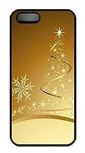 iPhone 5 5S Case Golden Christmas tree PC Custom iPhone 5 5S Case Cover Black