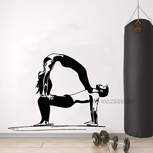 Pareja de yoga Etiqueta de pared de vinilo Estilo de vida ...