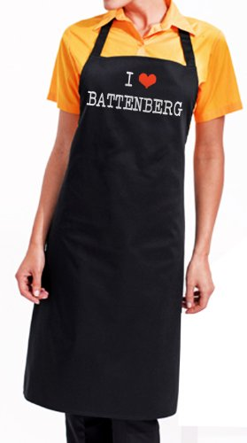 I Love Battenberg Apron, fantastic foodie gourmet gift with wrapping and gift message service available
