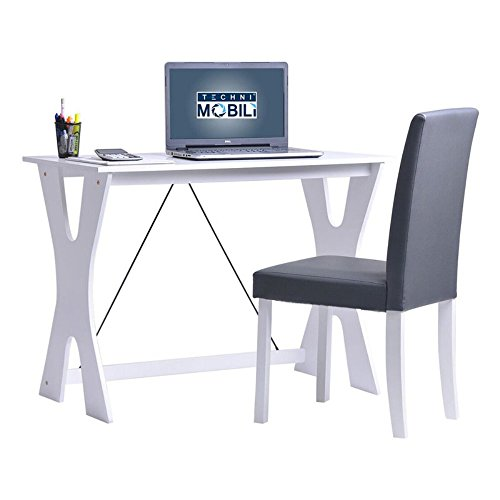 [TECHNI MOBILI Modern Matching Desk and Chair Set - White / Gray] (Mobile Computer Chair)
