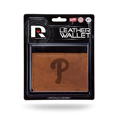 (Rico Philadelphia Phillies MLB Embossed Brown Leather Trifold Wallet)