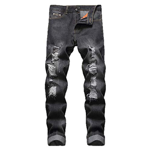 Acne Jeans Dress - iHPH7 Jeans Pants Men Relaxed Straight-Fit Lightweight Carpenter Jean Fashion Men's Casual Personality Printing Slim Fit Denim Jeans Pants 40 Black