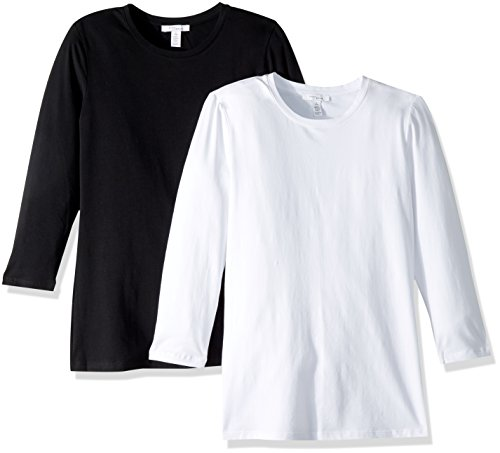 3/4 Sleeve Tee Crewneck (Daily Ritual Women's Stretch Supima 3/4-Sleeve Crew Neck T-Shirt, 2-Pack, XL, Black/White)
