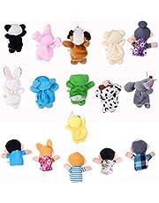 Jzhen 16 stuks vingerpop set vinger pluche dier vingerpop speelgoed baby rollenspel educatief speelgoed