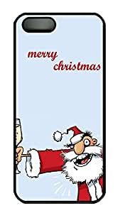 taoyix diy iPhone 5 5S Case Alcoholic Santa Merry Christmas20 PC Custom iPhone 5 5S Case Cover Black