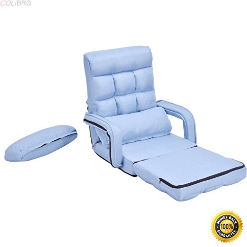 41sehsBhf0L - COLIBROX--Blue Folding Lazy Sofa Floor Chair Sofa Lounger Bed with Armrests and Pillow,floor chair with back support,best floor chair, Folding Lazy Sofa,Sofa for sale,portable floor chair